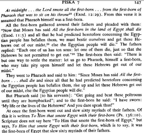 "Pesiqta de-Rab Kahana, trans. Braude and Kapstein; cited by Louis Feldman, ""The plague of the first-born Egyptians in rabbinic tradition, Philo, Pseudo-Philo, and Josephus,"" pg. 405."