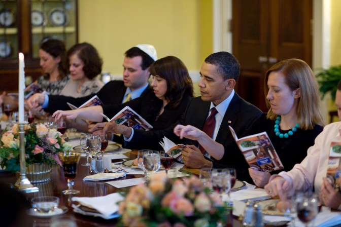 The presidential seder. Not everyone has moved to the living room yet.